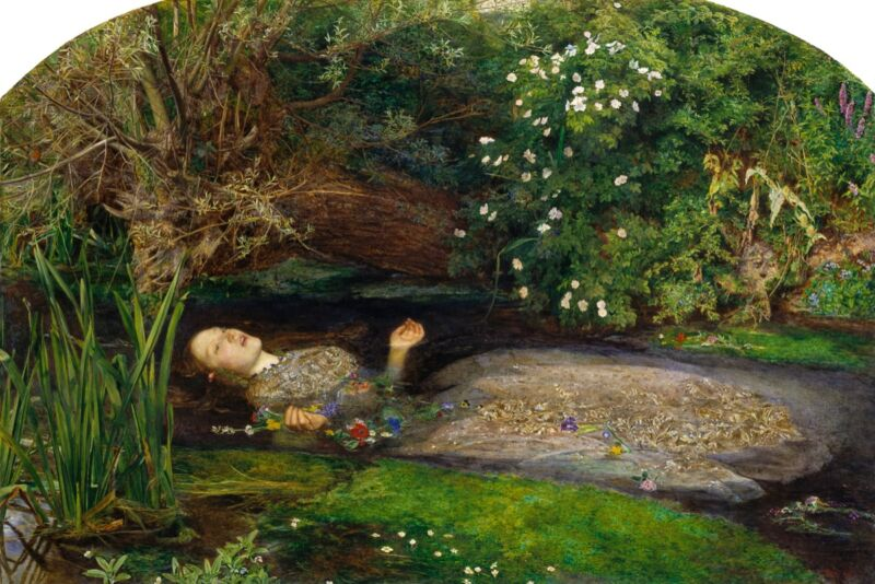 """<em></noscript> Ophelia </ em> (1852) by John Everett Mehlis, inspired by Shakespeare's character <em> Hamlet </ em> , Who gets mad and drowns in a stream.  It can be difficult for forensic scientists to determine how long a corpse has been submerged in water.  """"/><figcaption class="""