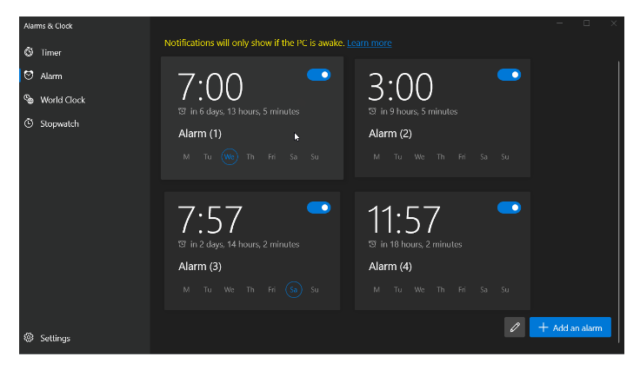 The latest update to Alarms and Clocks introduces new UI elements, including subtly rounded corners.
