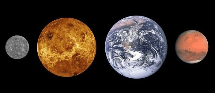 Comparative sizes of the first four planets of the Sun.  From left: Mercury, Venus, Earth, and Mars.  The width of the land is close to 8,000 miles.